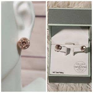 Swarovski Zirconia Gold Stud Earrings